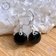 Black Sardonyx Coin Earrings